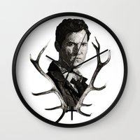 true detective Wall Clocks featuring True Detective by ConnorEden