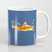 yellow submarine Mugs featuring Fabric Yellow Submarine by AnnaCas