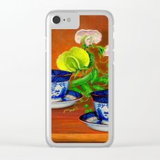 Teacups with Snap Peas Clear iPhone Case