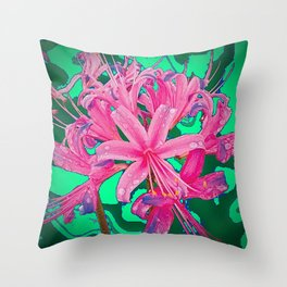 PINK SPIDER TYPE LILY FLORALS GREEN GARDEN ART Throw Pillow