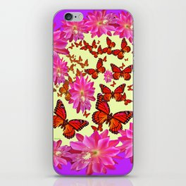 Violet Purple Pink Floral Butterfly Wreath iPhone Skin