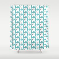 teeth Shower Curtains featuring Happy teeth by Petits Pixels