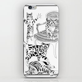 Cats with a chair - Ink artwork iPhone Skin