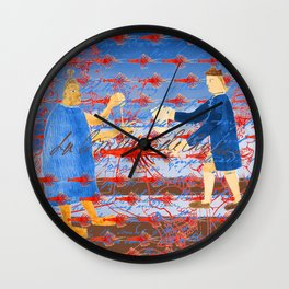 THE NATIVE AMERICAN, THE PILGRIM AND THE BIG BIG RED LOBSTER Wall Clock
