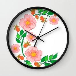 Abstract roses branch Wall Clock