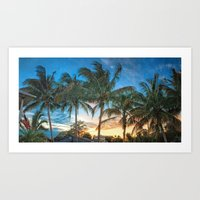 Florida Sunset Palm Trees Art Print