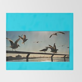 Americana - Pier 17 - Seagulls - Manhatten - NYC Throw Blanket