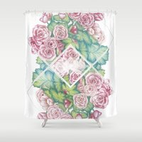 leah flores Shower Curtains featuring Flores by Barlena