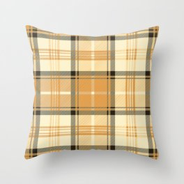 Gold Tartan Throw Pillow
