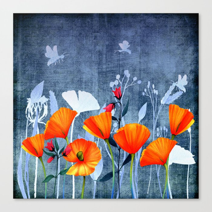 Summer night- Shadow of a Poppy meadow- Flowers on #Society6 Canvas Print