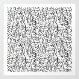 Elio's Shirt Faces in Black Outlines on White Art Print