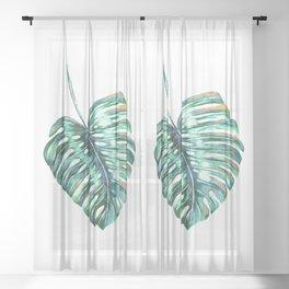Monstera leaf green tropical watercolor Sheer Curtain