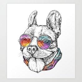 Bulldog Graphic Art Print. Bulldog in glasses Art Print