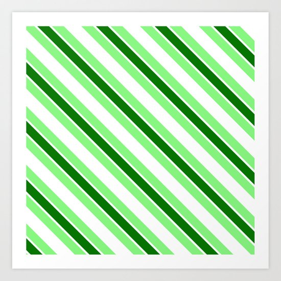 Green stripes Art Print