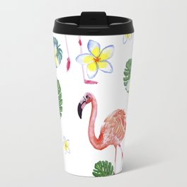Patrones decorativos de flamencos y flores de acuarela Travel Mug
