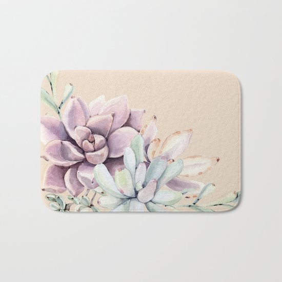 Trendy Apricot + Mint Succulents Bath Mat