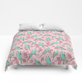 Budgie Birds With Blossom Flowers on Pink Comforters