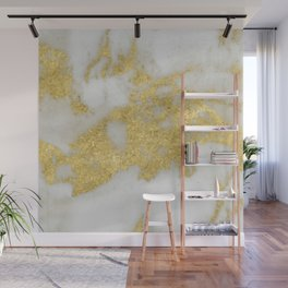Marble - Yellow Gold Marble Foil on White Pattern Wall Mural