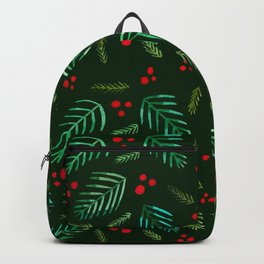 Christmas tree branches and berries - green Backpack