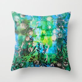 The Cheri - Beautiful Blues, Greens and Botanicals Throw Pillow