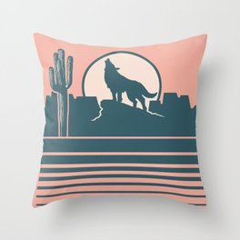 Howling at the Moon Landscape 233 Beige Green and Dusty Rose Throw Pillow