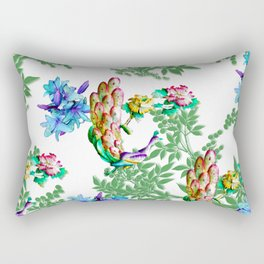 PEACOCK LILY ROSES TROPICAL BLOOM TOILE  PATTERN Rectangular Pillow