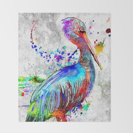 Pelican Grunge Throw Blanket