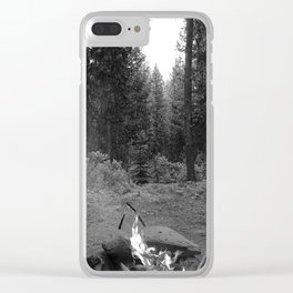 Backpacking Camp Fire B&W Clear iPhone Case