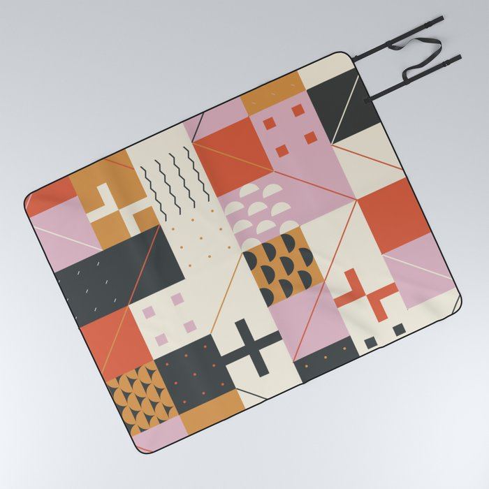 Abstract Geometric Composition 032 Picnic Blanket