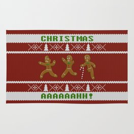 Ugly Christmas Sweater Scared Gingerbread Men Red Rug