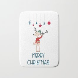 Christmas Reindeer in A Wool Hat and Ugly Sweater Bath Mat