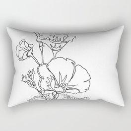California poppy botanical minimalist line art Rectangular Pillow