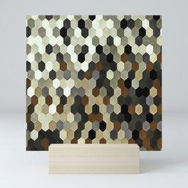 Honeycomb Pattern In Neutral Earth Tones Mini Art Print