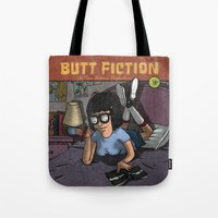 butt Tote Bags featuring Butt Fiction by Melissa Coughlin