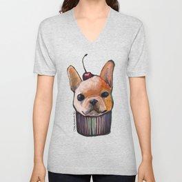 """Cherry on Pup"" Frenchi Cake Pattern Unisex V-Neck"
