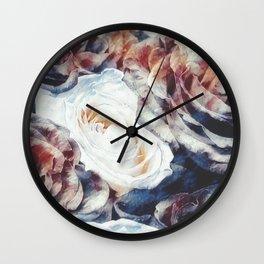 Roses print in retro drawing style watercolor digital Wall Clock