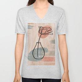 Flower And Vase Print, Wildflower Print, Line Art Print, Abstract Wall Art, Abstract Print Unisex V-Neck