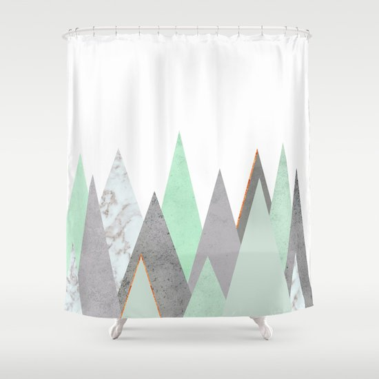 MINT COPPER MARBLE GRAY GEOMETRIC MOUNTAINS Shower Curtain