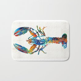 Colorful Lobster Art by Sharon Cummings Bath Mat