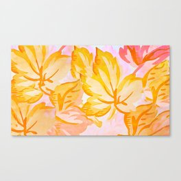 Soft Painterly Pastel Autumn Leaves Canvas Print