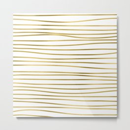 Small simply uneven luxury gold glitter stripes on clear white - horizontal pattern Metal Print