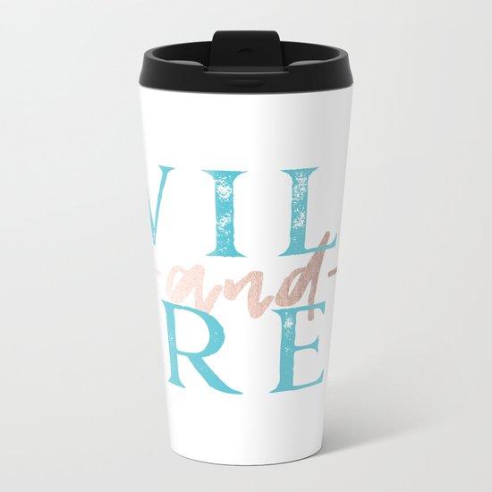 Wild and Free Turquoise Rose Gold Metal Travel Mug