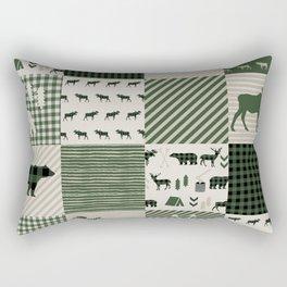 Camping hunter green plaid quilt cheater quilt baby nursery cute pattern bear moose cabin life Rectangular Pillow