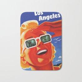 Retro Los Angeles California Travel Poster Bath Mat