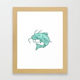 Catfish Mud Cat Jumping Mono Line Framed Art Print