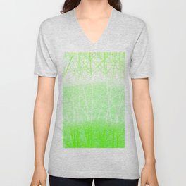 Frosted Winter Branches in Lime Green Unisex V-Neck
