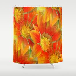Seamless Vibrant Yellow Gazania Flower Shower Curtain