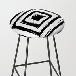 Minimal Black and White Square Rectangle Pattern Bar Stool