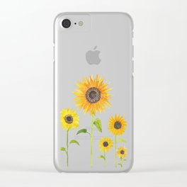 Sunflowers Watercolor Painting Clear iPhone Case