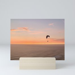 Pastel Sunset and Paraglider Photograph by Christie Olstad Mini Art Print